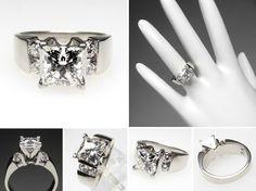 1 Carat Princess Cut Engagement Ring Gold 12