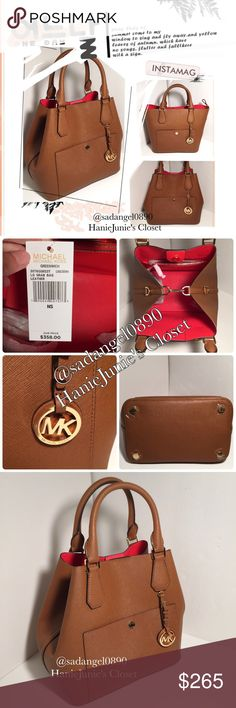 """MICHAEL KORS LARGE GREENWICH GRAB BAG Clasp  inside closure. 1 inside zip pocket. 1 inside open pockets. 1 front snap pocket MK Gold logo  Double Rolled leather handles with 5"""" drop 30""""Adjustable leather shoulder strap with 21-23"""" drop. 13 L""""  X 10""""H X 6""""D Bottom metal feet for protection. Gold hardware. Michael Kors Bags Totes"""