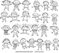 happy kid cartoon doodle collection by dualororua via shutterstock - Cartoon Drawings Of Kids
