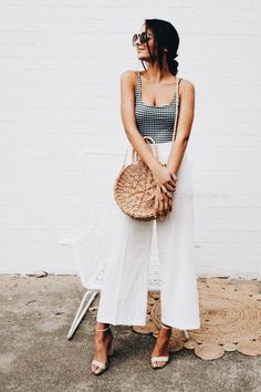 Black, white + basket bag.