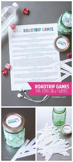 DIY Road Trip Games Teens and Tweens will LOVE!  Do it Yourself Tutorial and FREE PRINTABLES via landeelu.com