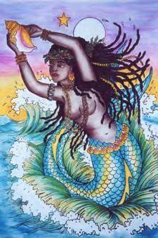 Yemaya is the Yoruba (West African) goddess of water and life. In the Yoruba religion, Yemaya is an orisha, an animistic deity who is a manifestation of one part of God. The Yoruba religion has inf… Siren Mermaid, Black Mermaid, Mermaid Art, African Mythology, African Goddess, Black Women Art, Black Art, Sirens, Oshun Y Yemaya