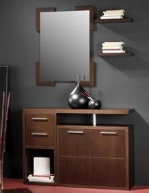 meuble dentre avec miroir et meuble chaussures contemporain sevrat coloris noyer