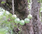 Light Green 5 Pearl Necklace