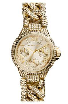 Michael Kors 'Mini Camille' Crystal Encrusted Chain Link Bracelet Watch, 34mm | Nordstrom