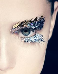makeup beauty metallic gold eyebrows and silver lashes...makeup by Romero Jennings
