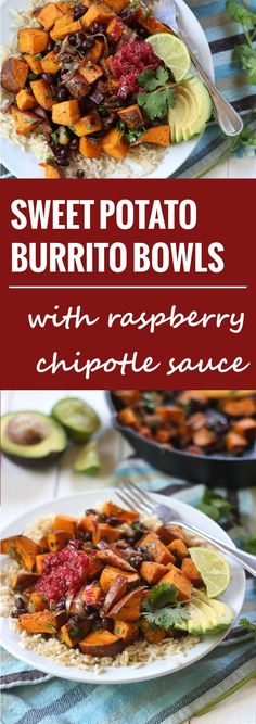 Savory black beans and garlic roasted sweet potatoes are dressed in lime juice and fresh cilantro and served with spicy raspberry chipotle sauce in these sweet & savory vegan sweet potato burrito bowls.