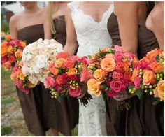 beautiful fall wedding colors, and I love the bride's dress!