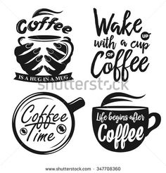 Hand drawn typography coffee posters set. Greeting cards or print invitations with coffee ware and quotes. Vector vintage illustration.