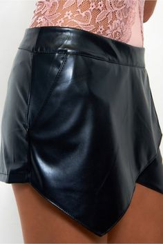 Midnight Crush Leather Skort In Black - The Fashion Bible from The Fashion Bible UK