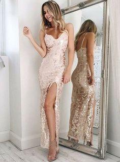 Charming Backless Prom Dresses Sheath Spaghetti Straps Floor-Length Champagne Lace Prom Dress from Ulass#promdress2018#graduationdress#eveningdress2018#dress#dresses#gowns#partydress#longpromdress#promdresses