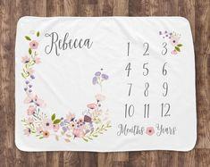 Milestone Blanket - Blossom - Girl - Baby Month Milestone Blanket - Pink & Purple - Personalized Blanket - New Mom Baby Shower Gift