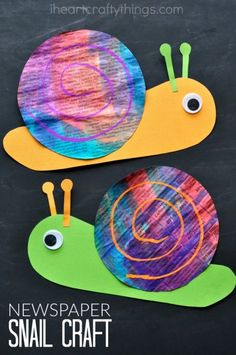 Paint newspaper with watercolors and then turn it into this bright and colorful newspaper snail craft for kids. It is such a happy and cheerful craft and makes a perfect spring kids craft or summer kids craft. Garden Crafts For Kids, Summer Crafts For Kids, Kids Crafts, Easy Crafts, Art For Kids, Garden Kids, Summer Kids, Craft Kids, Spring Crafts For Preschoolers