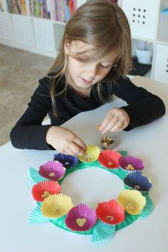 Cupcake Liner Flower Wreath - Mama.Papa.Bubba.