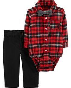 b63e25f9e61 Tie his look together this boys  Carter s plaid bodysuit and pants set with  matching bow tie.