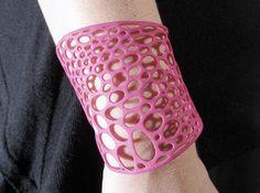 Voronoi bracelet #2 (MEDIUM) 3d printed Jewelry Bracelets Hot Pink Strong &…