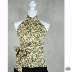 Summer Backless Vintage Top,   Beige and green Cashmere designs,