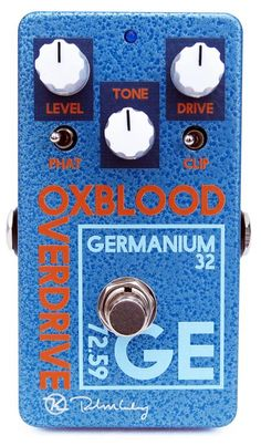 Overdrive Pedal with Germanium Transistors, True Bypass, and Controls for Level, Tone, Drive, Phat Switch, and Clipping Switch