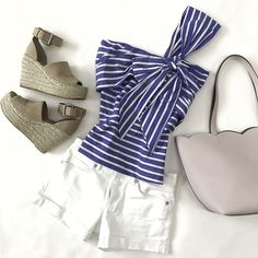 adalyne blush wedge sandals, scalloped tote, white denim shorts, striped one shoulder bow top, summer outfits, petite fashion blog - click the photo for outfit details!