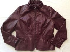 Roz & Ali Women's Size Large Burgundy Wine Faux Leather Vegan Fashion  Jacket #RozAli #Motorcycle