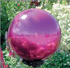 a pink gazing ball for the garden