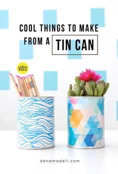 I love a good upcycling project. This is one the whole family can enjoy! Great for Earth Day projects too. Tin Can Crafts, Easy Diy Crafts, Recycled Crafts, Diy Crafts For Kids, Crafts To Sell, Recycled Materials, Recycle Cans, Upcycle, Recycling Bins