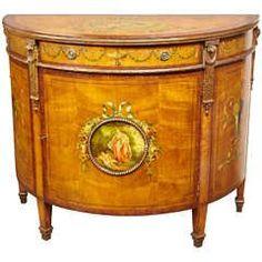 Late 19th Century Edwardian Satinwood Demilune Cabinet