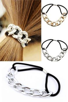 2 Pcs Chain Link Ponytail Holder: Polished metal chain links create a unique, stylish look! Great hair accessory and a unique gift. Jewelry Accessories, Fashion Accessories, Women Accessories, Fashion Jewelry, Hair Cuffs, Makeup 2018, Stiletto Nail Art, Christmas Makeup, Ponytail Holders