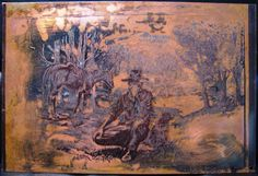 Australian Artist Cedric Emanuel copper etching, The Drover Takes a Break Take A Break, Take That, Australian Artists, Copper, Painting, Painting Art, Paintings, Brass, Painted Canvas