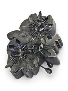 "Corsage: Passiflora, 2007, 4"" l x 3"" w x 1"" dsteel, nail polish, brooch with presentation box, Photo: Kevin Sprague"