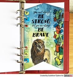 Journal page by Godelieve Tijskens using Darkroom Door Be Brave Quote Stamp, Abstract 5 Stamp, Wild Africa Vol 2 Stamp Set and small Grunge Marks stencil Brave Quotes, New Quotes, Door Quotes, Animal Cards, Distress Ink, My Stamp, Journal Pages, Design Crafts, Stencils