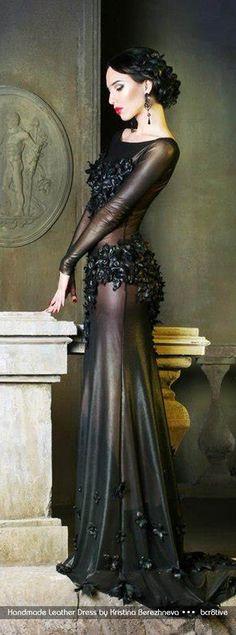 Absolutely STUNNING!  Handmade Leather Dress by Kristina Berezhneva