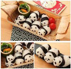 I don't like sushi, but I like pandas, and I like K. , and she likes sushi Panda Sushi, Panda Food, Panda Panda, Happy Panda, Kawaii Bento, Cute Food, Yummy Food, Bento Recipes, Bento Ideas
