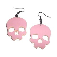 Pastel Pink Skull Earrings, Kawaii Pastel Goth Large Laser Cut Dangle... (20 AUD) ❤ liked on Polyvore featuring jewelry, earrings, kawaii, gothic earrings, pastel jewelry, long earrings, pink dangle earrings and goth jewelry