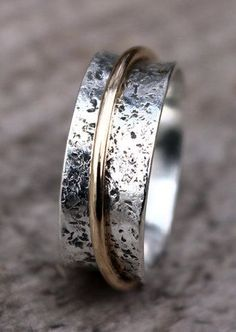 Hammered Sterling Silver Spinner Ring, Wedding Ring, Narrow Spinner Ring, with…