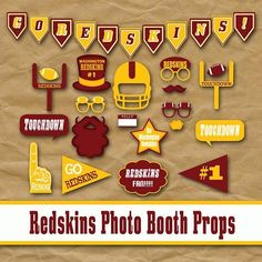 You must not forget these #Redskins photo booth props!    These will make fantastic pictures for any party.