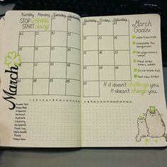 Bullet journal inspiration March monthly planner with habit tracker, colour themed black and green, positive quote. Bullet Journal Junkies, Bullet Journal Inspo, My Journal, Journal Pages, March Bullet Journal, Bullet Journal Monthly Spread, Bullet Journal Goals Page, Bujo Monthly Spread, Banners Bullet Journal