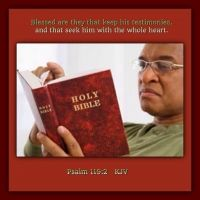 Psalm  119:2    Blessed are they that keep his testimonies, and that seek him with the whole heart.