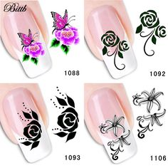 1.45$  Watch here - Bittb 4pcs Black Flower Design Nail Sticker Art Water Transfer Decals DIY Nail Decoration Temporary Tattoo DIY Nail Accessories   #buychinaproducts