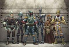The original bounty hunters: Dengar, Boba Fett, Zuckuss and Bossk. Star Wars Concept Art, Star Wars Art, Star Trek, Boba Fett, Maquette Star Wars, Starwars, Star Wars Bounty Hunter, Star Wars Personajes, Star Wars Tattoo