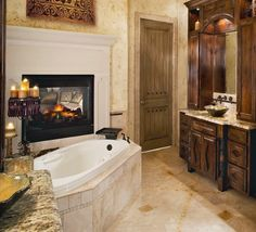 Double sided fireplace between master bathroom and bedroom   For ...