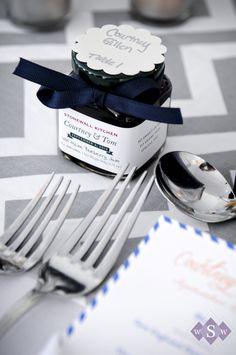 Blueberry jam wedding favors - Peaks Island Wedding - Inn at Peaks Island - #MaineWedding - by Samantha Warren Weddings