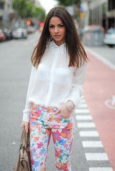 Floral print pants and shirt with studs on the collar :)
