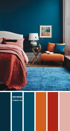 Modern Chic Bedrooms, Beautiful Bedrooms, Bedroom Wall Colors, Teal Bedroom Decor, Teal Bedroom Walls, Navy Blue Bedrooms, Bedroom Orange, Dark Teal Bedroom, Bedroom Color Combination