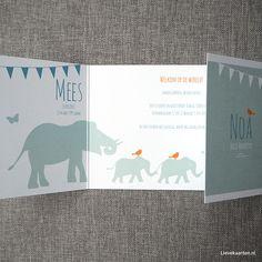 Welkom lieve Mees en Noa, tweeling geboortekaartje op maat | Birth announcement for twins from Lievekaarten.nl