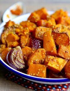 #Recette #Butternut, #patates douces et #oignon rouge aux #épices #PatatesDouces
