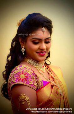 Anusha looks radiant for her reception! Makeup and hairstyle by Vejetha for Swank Studio. Berry lips. Armlet. Bridal jewelry. Bridal hair. Silk sari. Bridal Saree Blouse Design. Indian Bridal Makeup. Indian Bride. Diamond Jewellery. Statement Blouse. Tamil bride. Telugu bride. Kannada bride. Hindu bride. Malayalee bride. Find us at https://www.facebook.com/SwankStudioBangalore