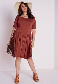 5706df837bb Missguided - Plus Size Oversized Swing Dress Rust Plus Size Outfits