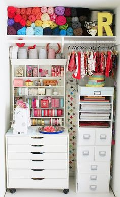 5 Ways to Utilize an Unused Linen Closet via www.homedit.com very organized craft closet! This would be perfect for me since I already have a big collection!!!