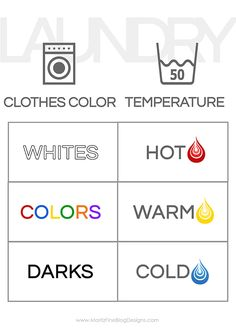 If you are teaching your kids how to do laundry, use our free printable laundry guide for kids! Simply print it out and hang it near your washer and dryer!